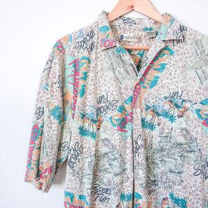 VTG Mens Casual Souvenier Button Down Shirt XL